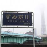 言問橋 隅田川 スカイツリー 看板 写真